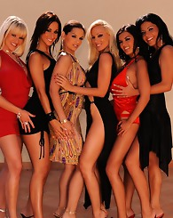 Six horny girls preparing a big swinger orgy at the villa