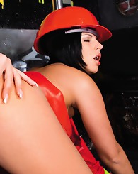 Horny firewomen in heat try to extinguish their pussy fire