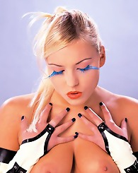Curvy blonde with big tits and great eyes in sexy positions
